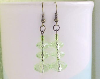 Transparent Pale Green Earrings, Green Faceted Bead Earrings, Green Jewellery, Anniversary Gift For Wife, Birthday Present, Thank You Token