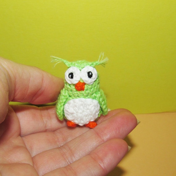 Miniature Crochet Owl Gifts Ideas For Her Green Owl Figurines Etsy