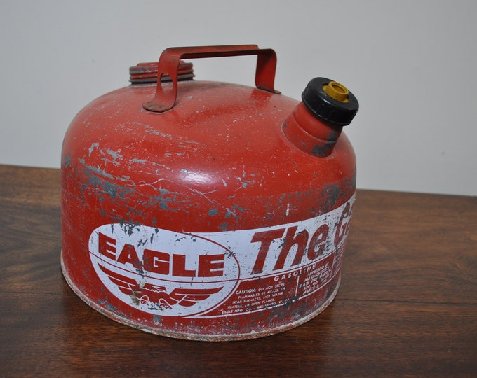 West Virginia 2 12 gallon Made in USA. Man cave decor Vintage Eagle The Gasser gasoline can Chippy patina Collectible petroliana