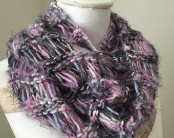 Fuzzy Infinity Cowl, Open Knit Loop Scarf, Cozy Knit Cowl, Snuggly Winter Neckwarmer