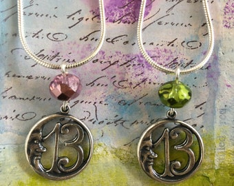"""13 Moon Necklace with Pink or Green Glass Bead on 18"""" Sterling Silver Snake Chain"""