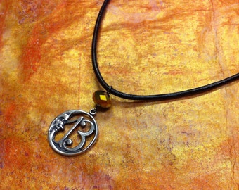 Lucky 13 Leather Necklace Crescent Moon Face, Number 13 Jewelry, Thirteen Necklace