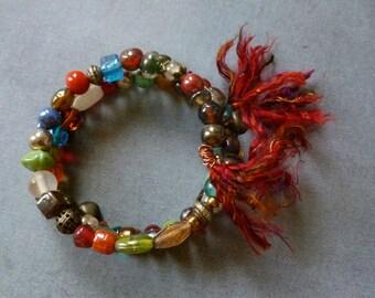 Beaded Bracelet with Sari Silk Tassels, Memory Wire Bracelet, Glass Bead Bracelet