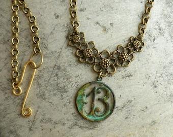 Lucky 13 Moon Necklace Verdigris Favorite Number Thirteen Good Luck Boho Jewelry