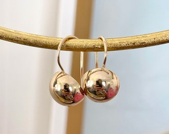 14KT Rose Gold Polished Half Ball Earring Euro-Wire w Clasp NEW 10 mm leverback