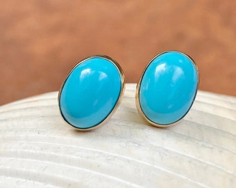 One Single 4mm Round Turquoise Sterling Silver Cabochon Cab Gem Stud Earring
