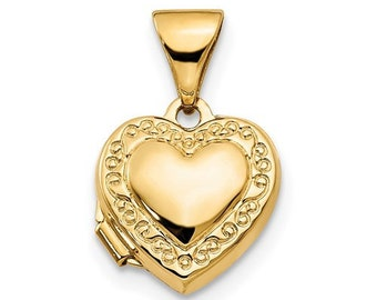 14k Yellow Gold Hollow Heart Pendant 13x13mm