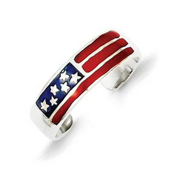 Sterling Silver Enameled USA FLAG TOE Ring Adjustable Red White /& Blue Band New