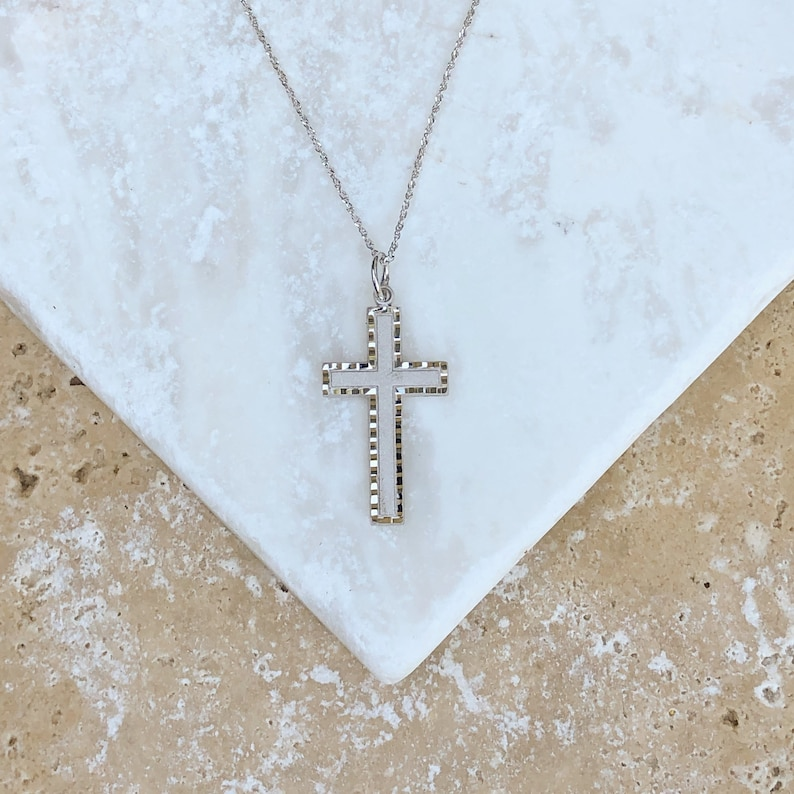 10KT White Gold Detailed Diamond-Cut Detailed Cross Charm Pendant