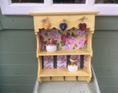 Shabby Chic Wall Unit Shelf Storage Cupboard Cabinet Key Hooks hand painted Vintage Style kitchen storage, organiser