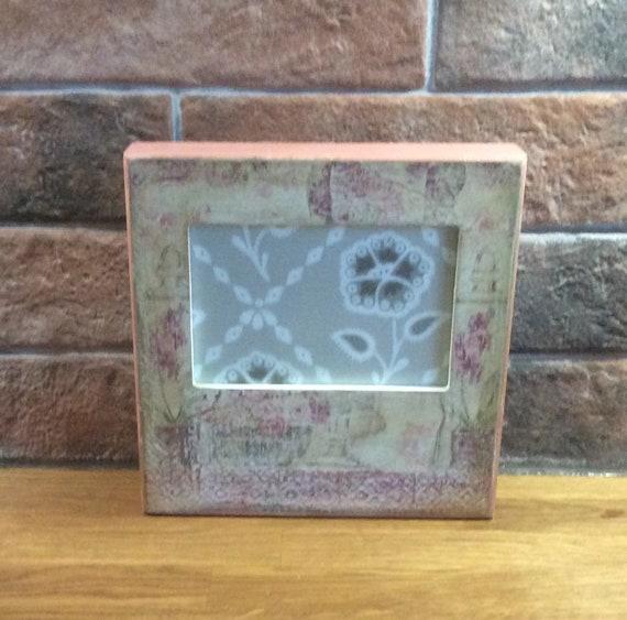Picture frame (decoupage decoupaged frame) freestanding frame, home decor,  shabby chic gift idea