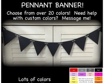 Black pennant garland, penant paper garland, long or short, party decoration, triangle banner black banner, banner