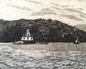 Very Rare Esopus Landing Hudson River by Captain S Eastman Etching print from the 1800/'s JC McRae