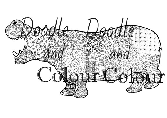 Hippo Adult Colouring Page Instant Download Printable Etsy