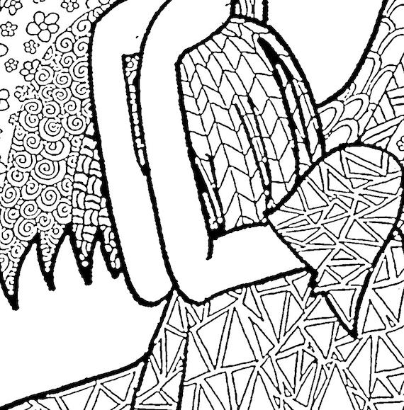 Triste Ángel adulto colorear página instante descargar | Etsy