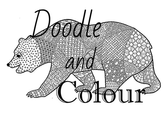 Bear Adult Colouring Page Instant Download Printable