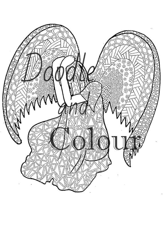 Triste Ángel adulto colorear página instante descargar   Etsy