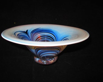 Art Glass Bowl of Blue and White Swirls