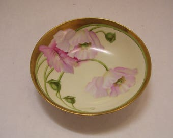 Ceramics & Porcelain R S Germany Cabinet Bowl White Pink Roses Porcelain Hand Painted Antique Green