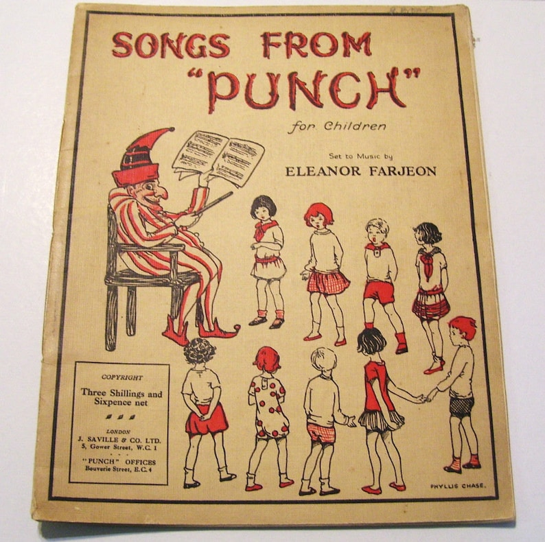 1920s Punch Magazine Songs from Punch Eleanor Farjeon Ill  Phyllis Chase  Vintage