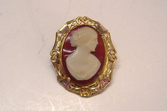 Allco Cameo Brooch Pin Victorian Revival 1930s Vin
