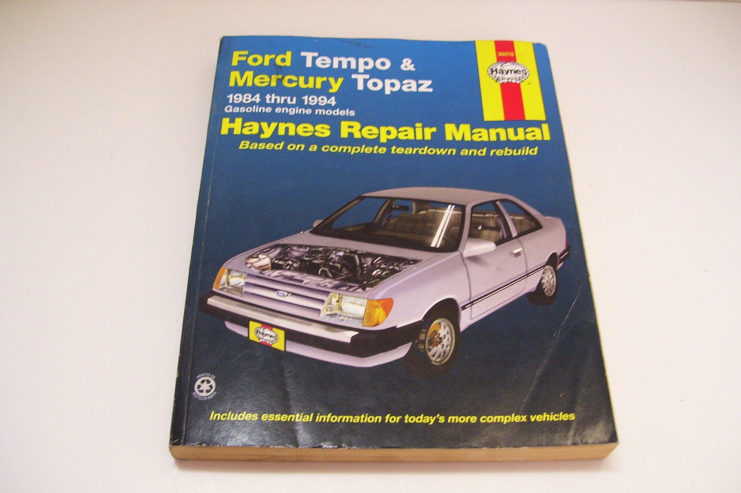 1994 Ford Tempo Haynes Repair Manual 1986 Fuse Box And Mercury Topaz 1984 Etsy Rh Com Problems