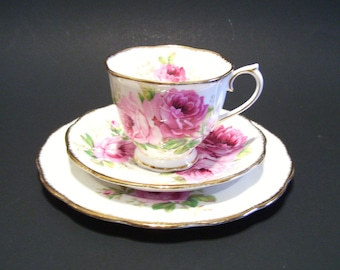 Royal Albert American Beauty Trio Cup Saucer Bread and Butter Plate Pink Roses