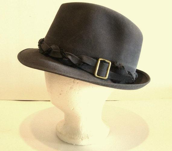 Mens Fedora Hat Grey Sz 7 Genuine Fur Felt Society Club  073e3edb279