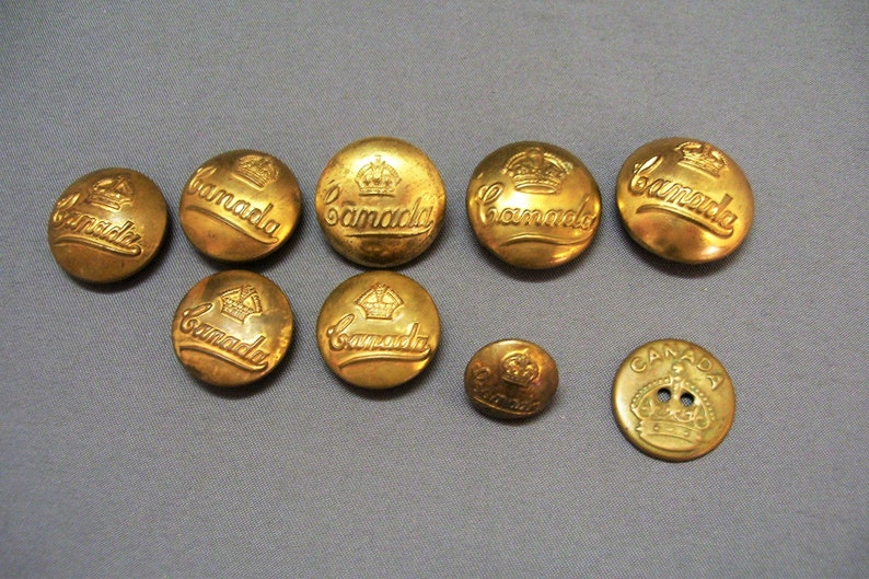 9 WW2 Canadian Brass Military Uniform Buttons Canada with Crown World WarII