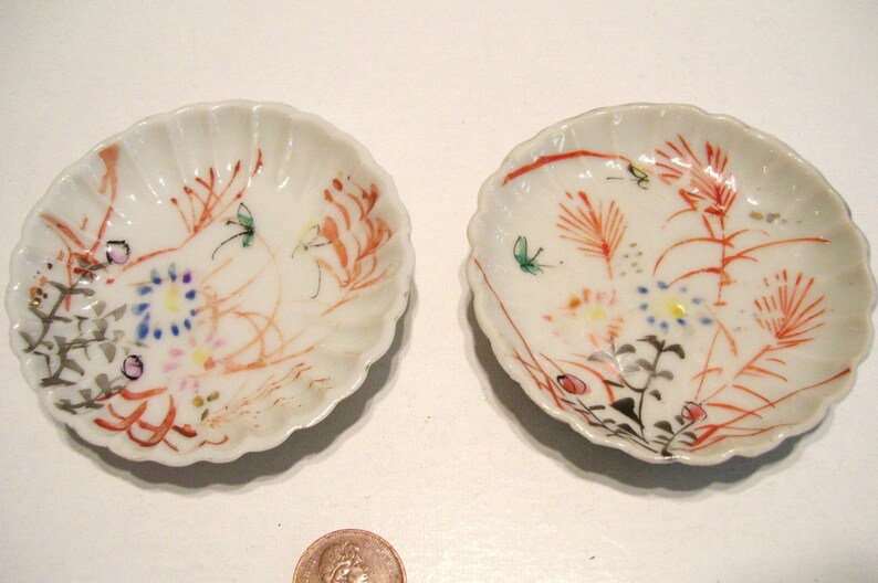 2 Butter Pats Hand-Painted Fluted Ruffled Edge Victorian Unmarked Antique