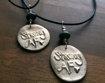 Strong AF necklace - artisan bronze with sterling silver and jasper on long cotton or leather cord
