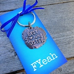 Best F--king Sister Keychain Best Sister Gift Under 25 Handwriting on Copper