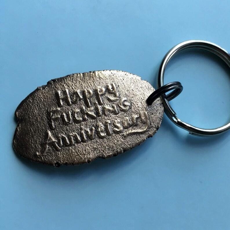 Bronze Anniversary Gift Happy Fucking Anniversary Key Chain image 0