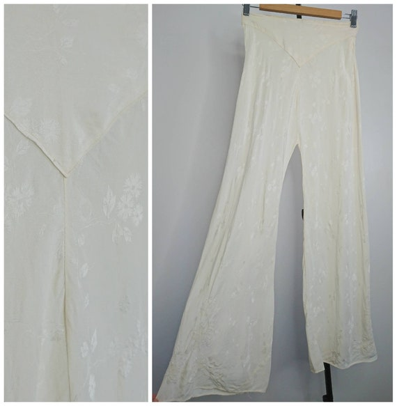 Vintage 30's Silk Lounge Trousers Pyjamas sz XXS