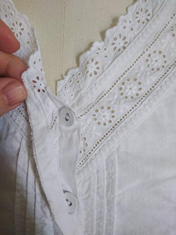 Antique Victorian Edwardian Cotton Camisole Blous… - image 2