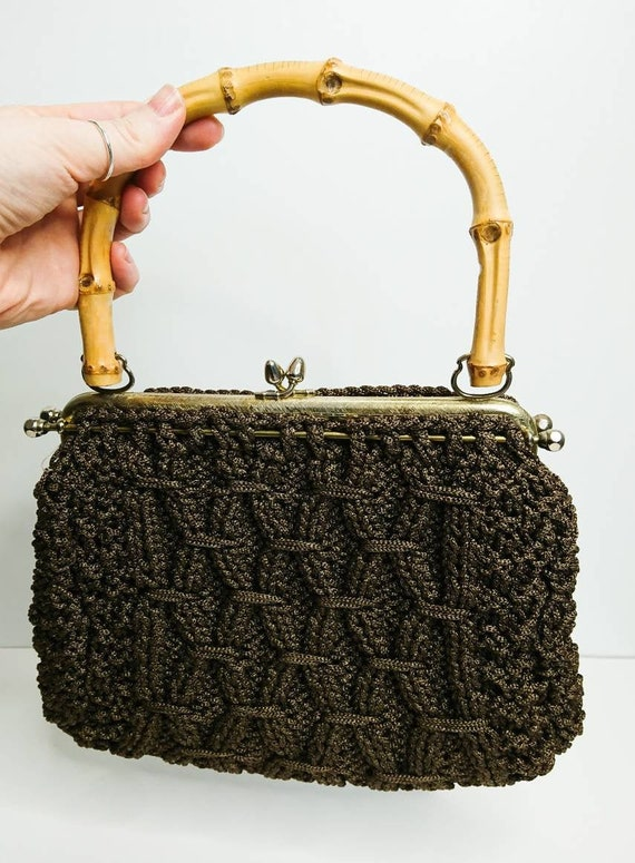 Vintage 60's Brown Crochet Bamboo Handled Bag