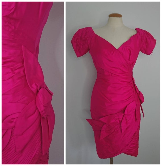 Vintage 80's Hot Pink Silk Mini Dress Sz XXS