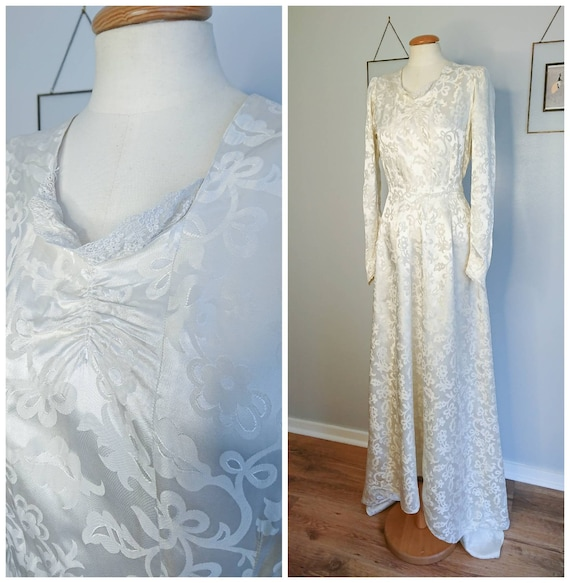 Vintage 40's Damask Wedding Dress S