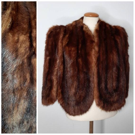 Vintage 40's Mink Fur Cape with Scalloped Edge