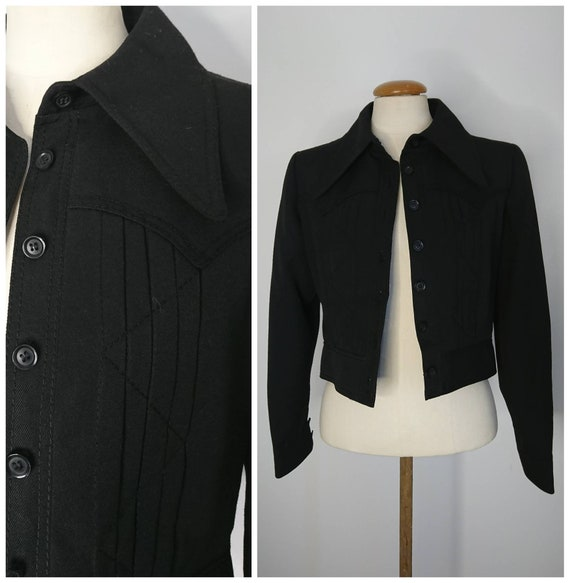 Vintage 70's Dagger Collar Cropped Jacket Sz XS