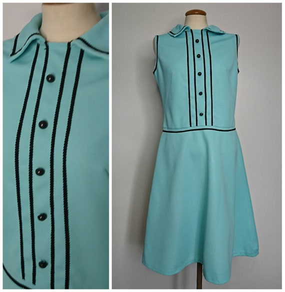 Vintage 60's Turquoise Green Mod Dress sz M