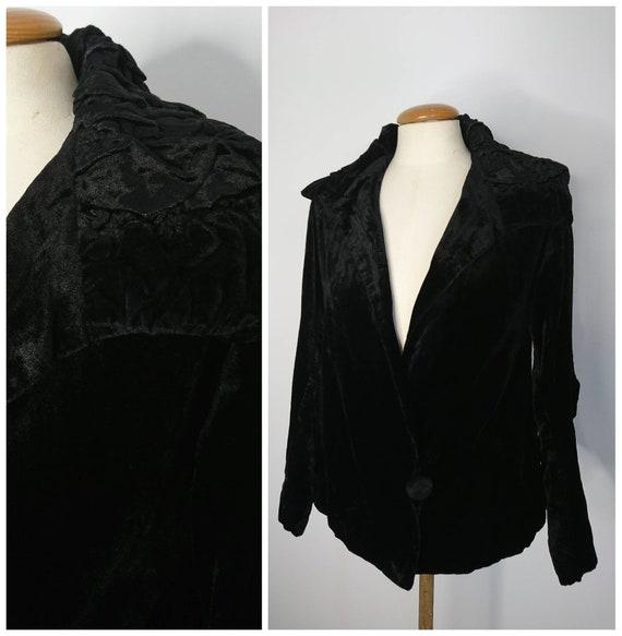 Vintage 30's Black Velvet Jacket sz XS
