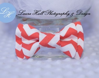 Bow Tie - CORAL CHEVRON bow tie, Coral white chevron double bow bow tie, newborn toddler boys bow tie, mens coral bow tie,hair bow for girls