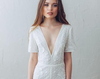 Jumsuit D0120 | Wedding dress Boho wedding dress Romantic Wedding Dress vintage wedding dress elegant wedding gown bohemian wedding dress