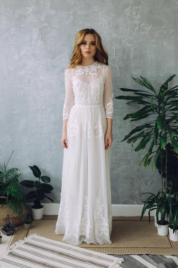 Dress D0101 Wedding Dress Boho Wedding Dress Romantic Etsy