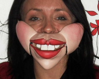 Female Professional ventriloquist  cable controlled mask