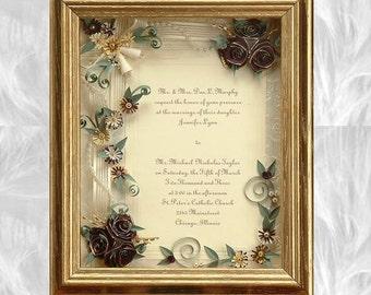 Framed Wedding Invitation Gold Wedding Invitation Framed Wedding Gift Framed Shadow Box Preservation