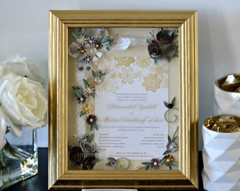 framed wedding invitation wedding shadow box wedding gift