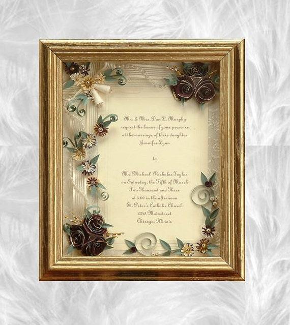 Framed Wedding Invitation Framed Wedding Gift Gold Wedding | Etsy