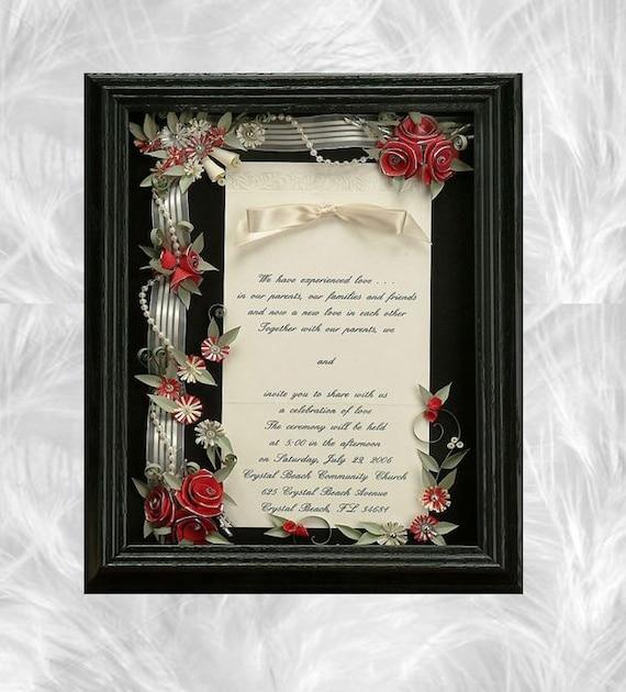 Framed wedding invitation wedding shadow box Wedding gift | Etsy